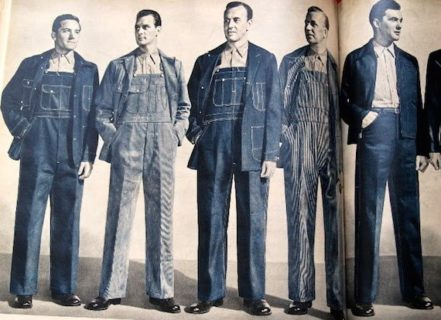 vintage workwear style publicity poster