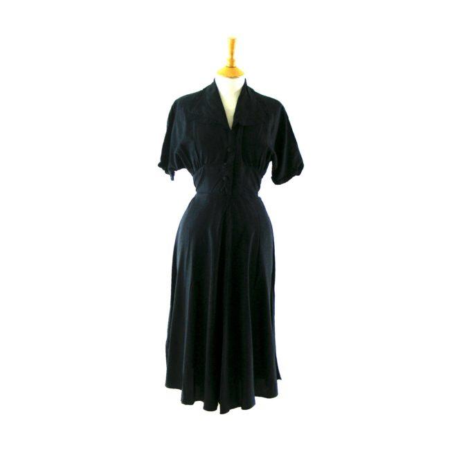 Dark blue 1940s vintage dress