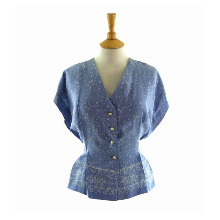 50s Lilac Printed Blouse