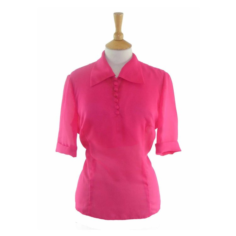 60s Fuchsia Colored Short Sleeved Blouse