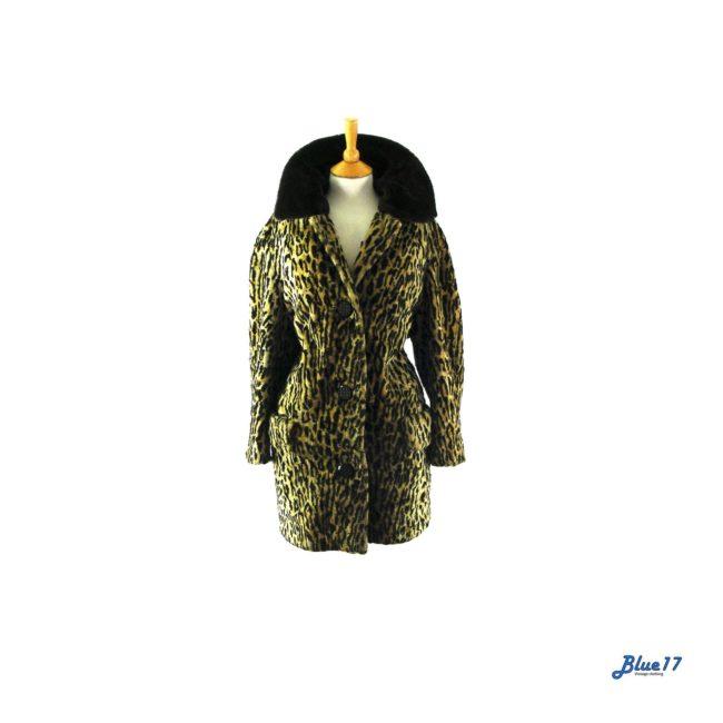 60s Leopard print faux fur coat