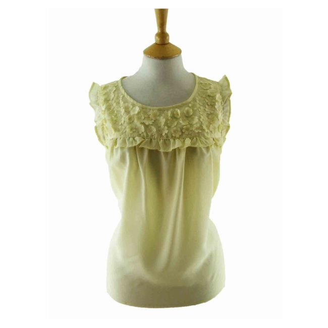 70s Floral Applique Pale Yellow Sleeveless Blouse