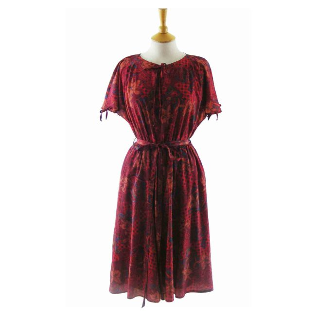 70s Paisley Floral Print Red A Line Dress