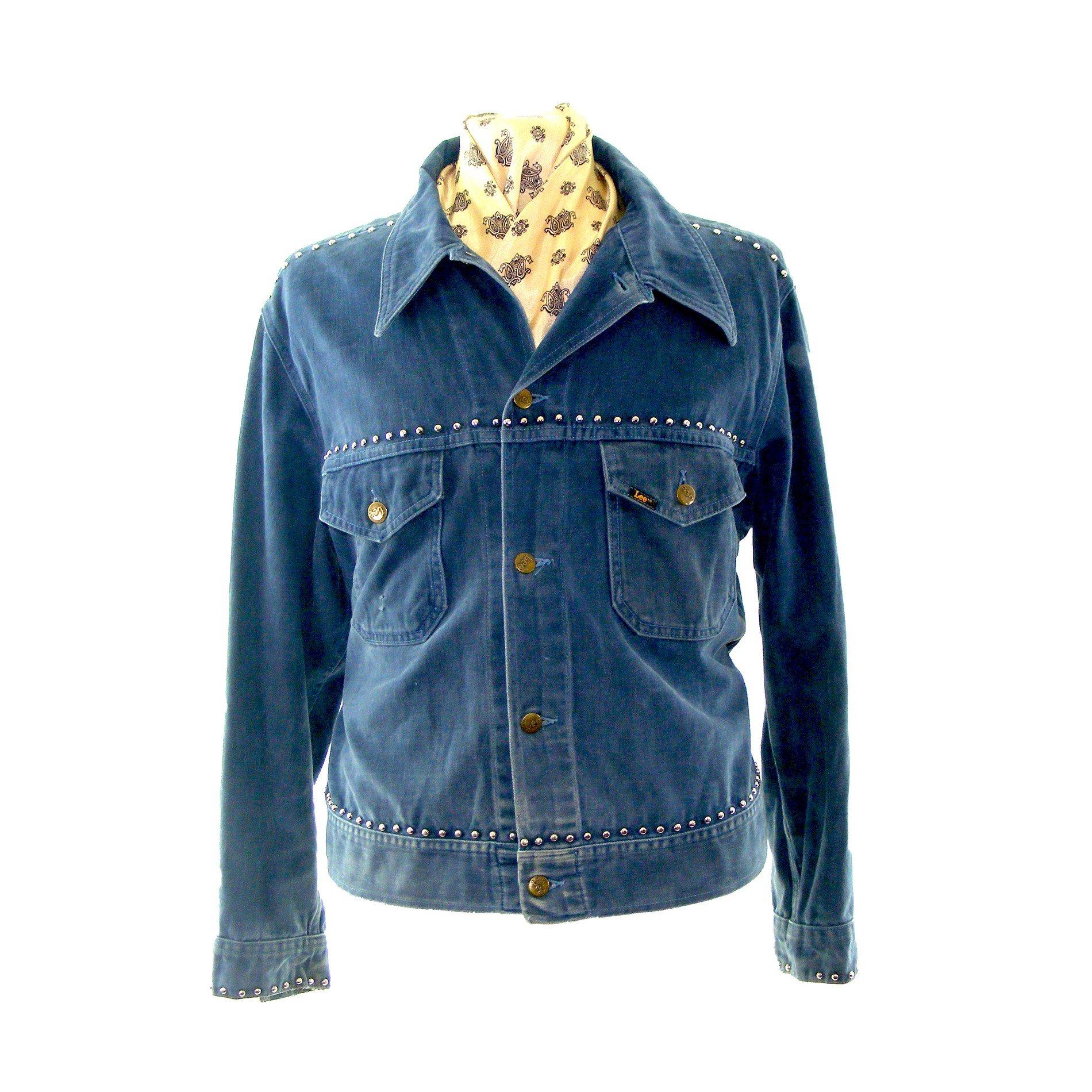 1970s Lee denim jacket  vintage 70s jean jacket  dark blue denim