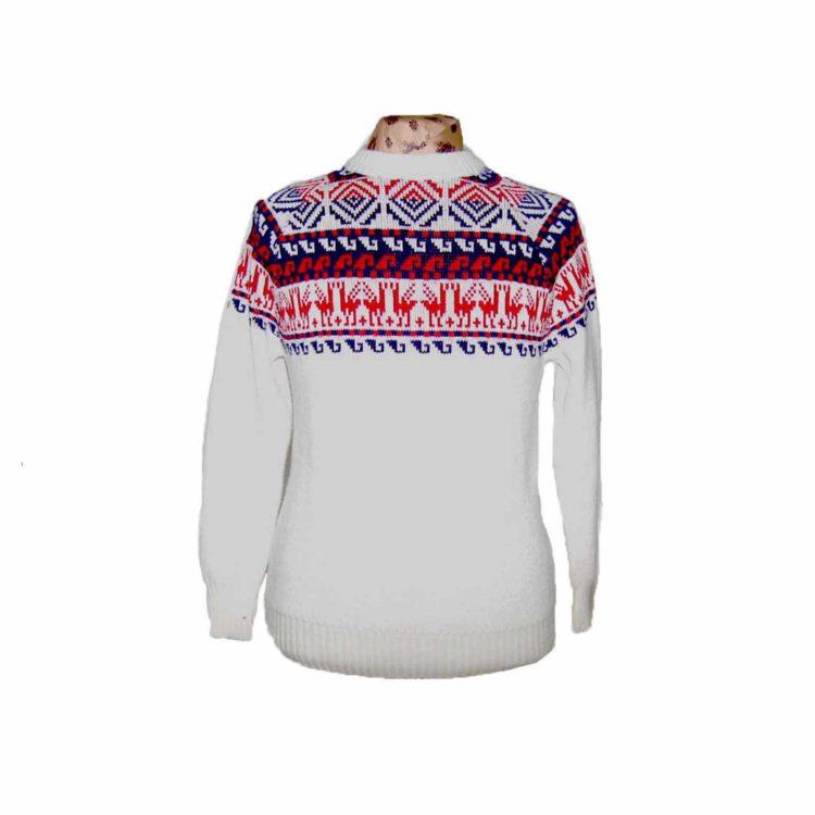 White Nordic Reindeer Sweater