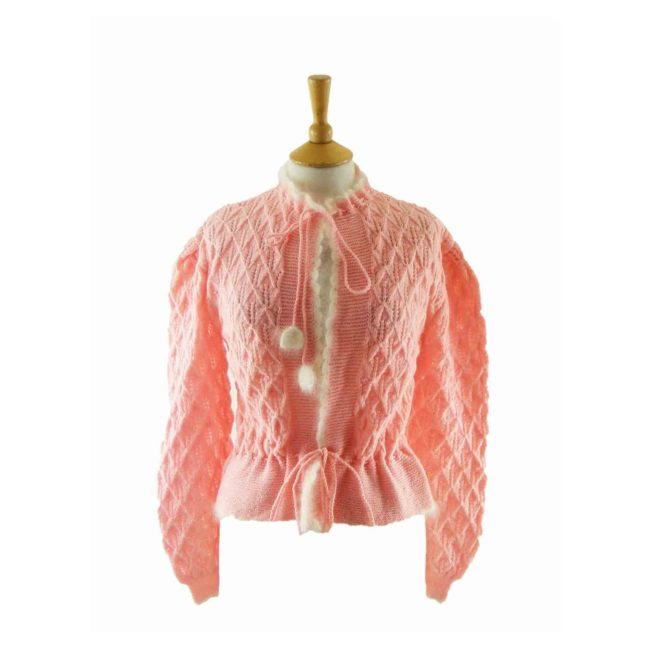 70s pink Honeycomb Pattern Knitted Cardigan