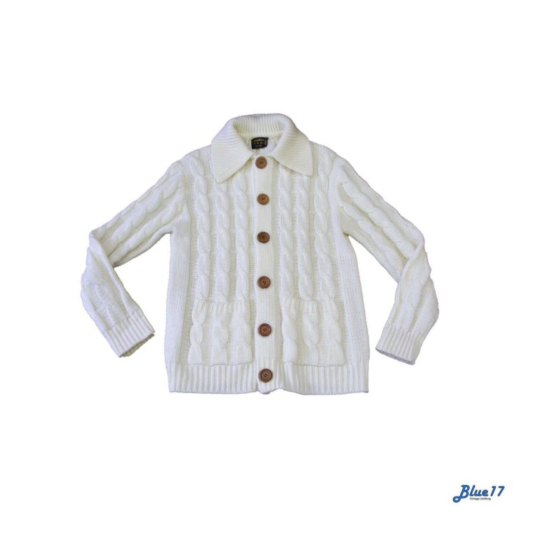 70s White cable knit cardigan