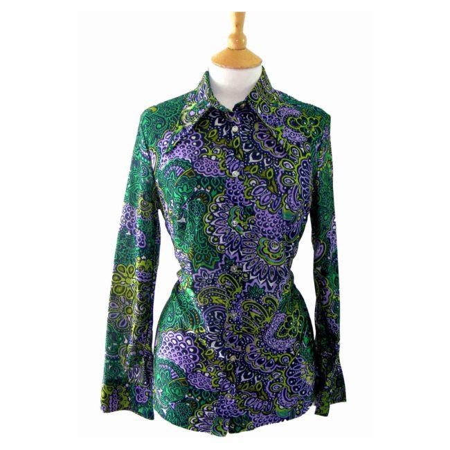 70s Paisley Print Green blouse