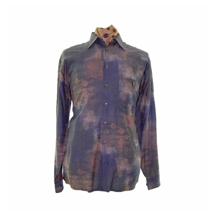 80s Abstract Patterned Long Sleeve Shirt