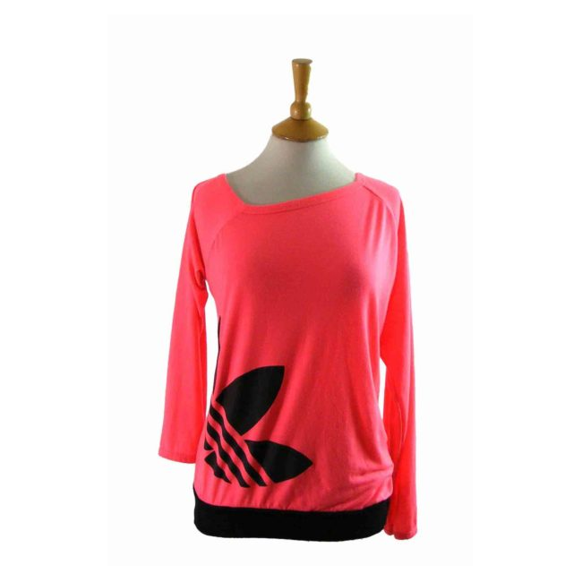 80s Adidas Pink Long Sleeve T shirt