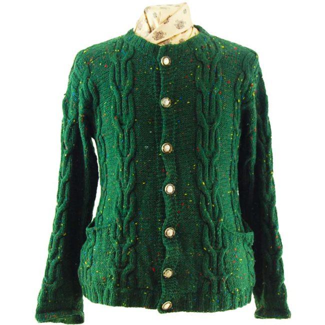 80s Cozy Dark Green Cardigan