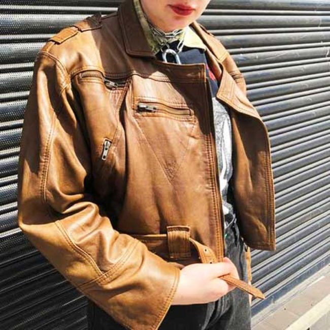 80s Cropped Brown Leather Jacket