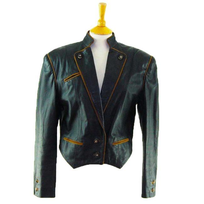 80s Cropped Leather Blazer