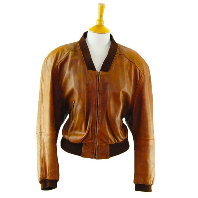 80s Cropped Tan Leather Jacket