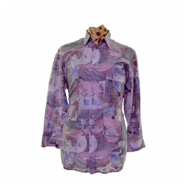 80s Multicolored Abstract Patterned Shirt