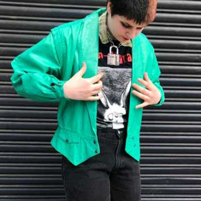 80s Oversized Green Leather Jacket