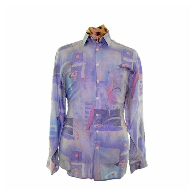 80s Purple And Mint Green Patterned Shirt