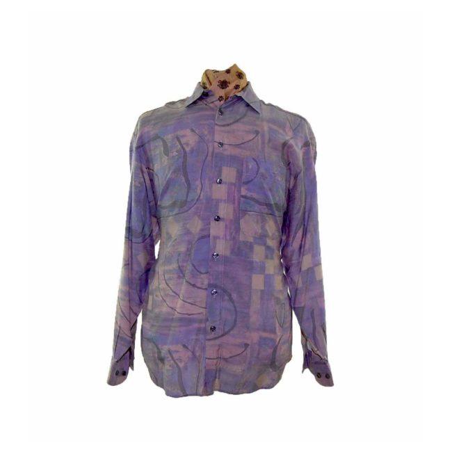80s Purple Patterned Long Sleeve Shirt