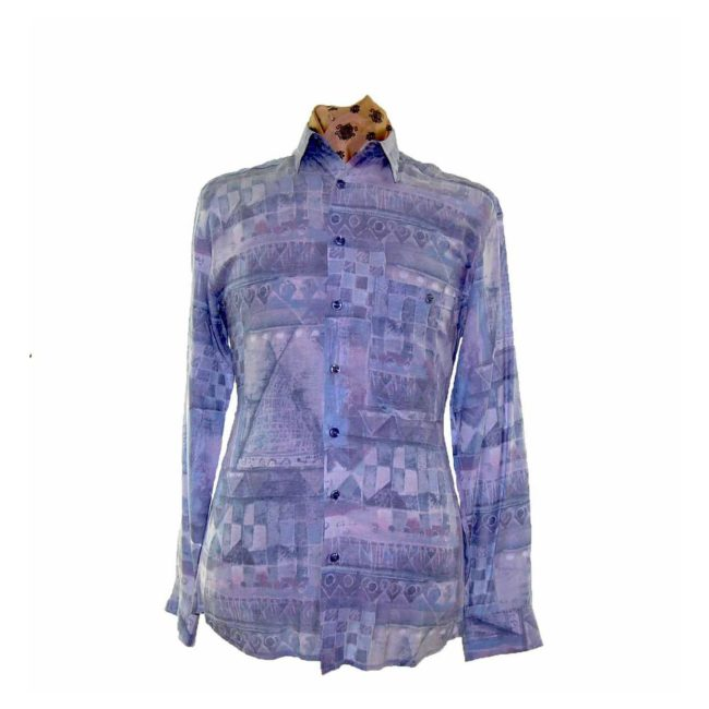 80s Style Blue And Purple Patterned Shirt