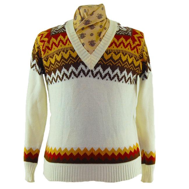 80s V-Neckline Cream Sweater