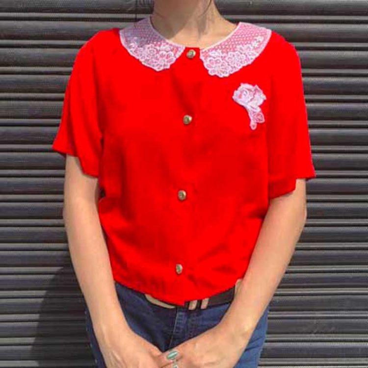 80s Womens Lace Collar Shirt