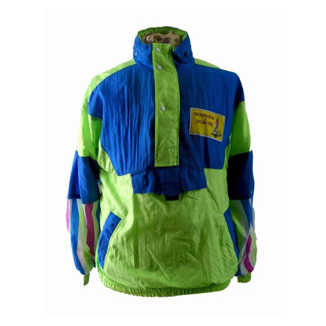 80s lime green & blue shell suit top