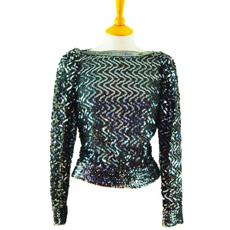 90s Black And Silver Sequined Top