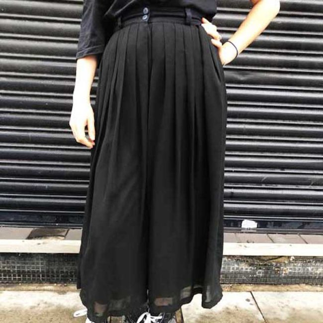 90s Black Sheer Chiffon Skirt