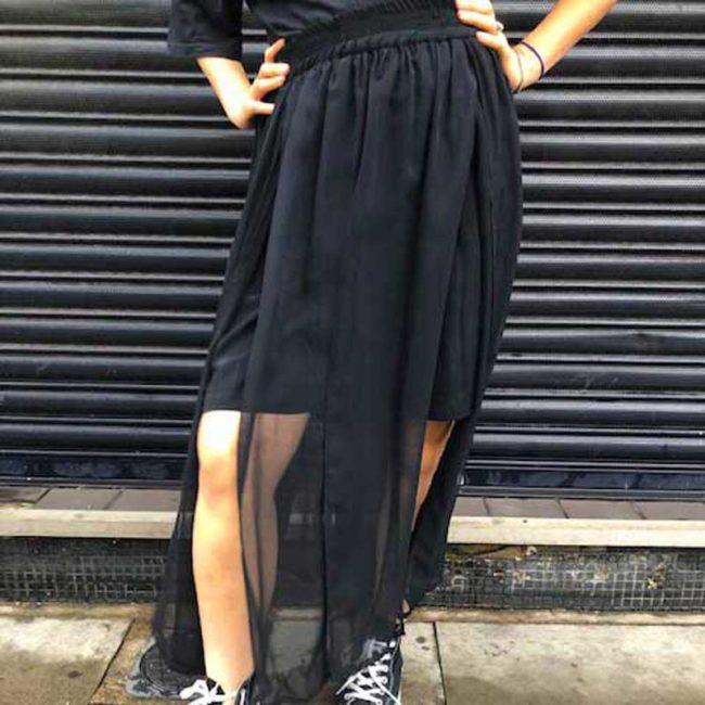 90s Black Split Pleat Chiffon Skirt