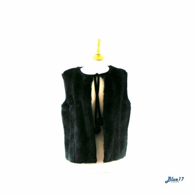 90s Black faux fur waistcoat