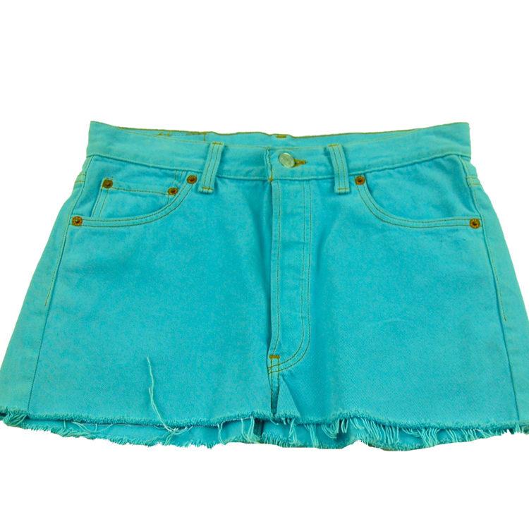 90s Cropped Levis Blue Denim Skirt