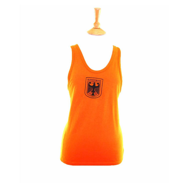 90s Fluorescent Orange Cotton German Military Vest