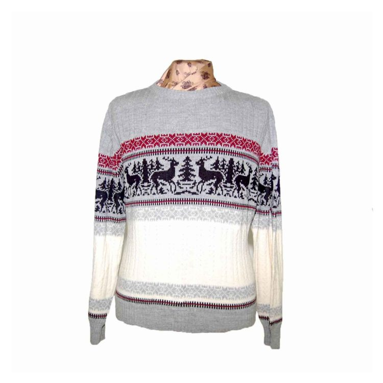 90s Mens Cable Knit Festive Reindeer Sweater