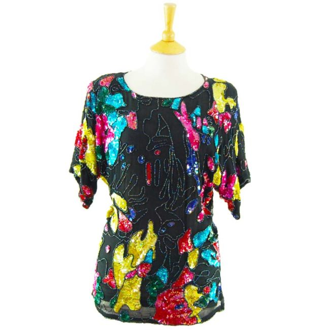 90s Multicolored Black Sequined Top