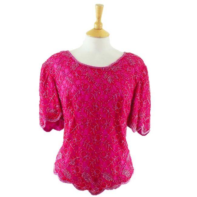 90s Pink Sequined Top