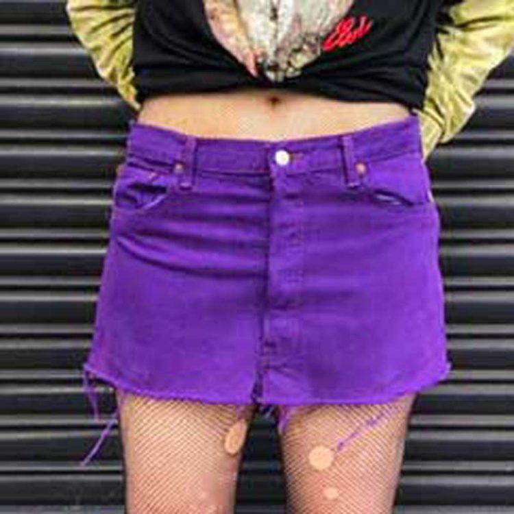 90s Raw Hem Purple Levis Skirt