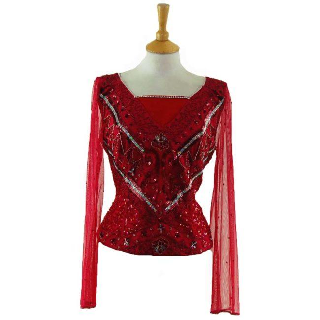90s Red Sequin Bustier Top