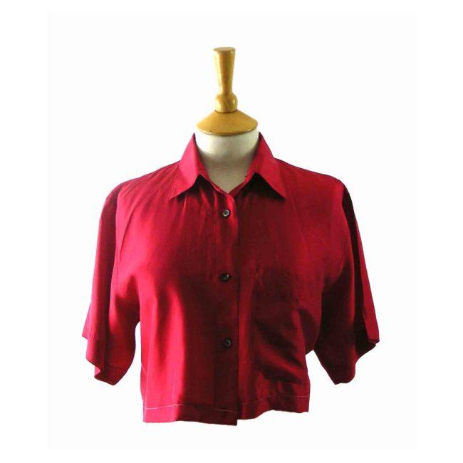 90s Red Silk Short Sleeved Blouse