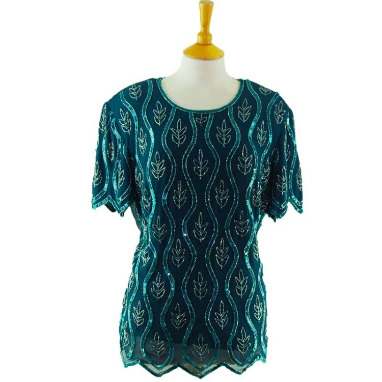 90s Sea Green Beaded Top