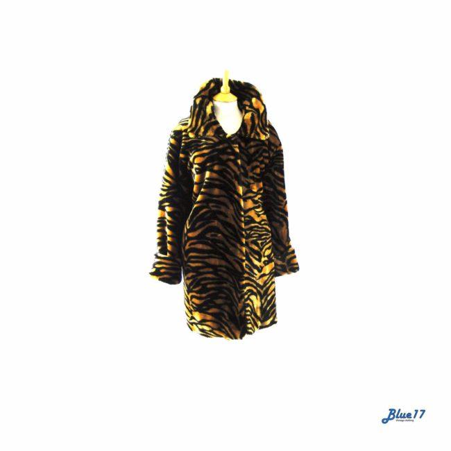 90s Tiger print faux fur coat.