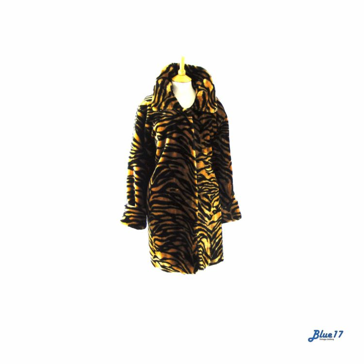 90s Tiger print faux fur coat.