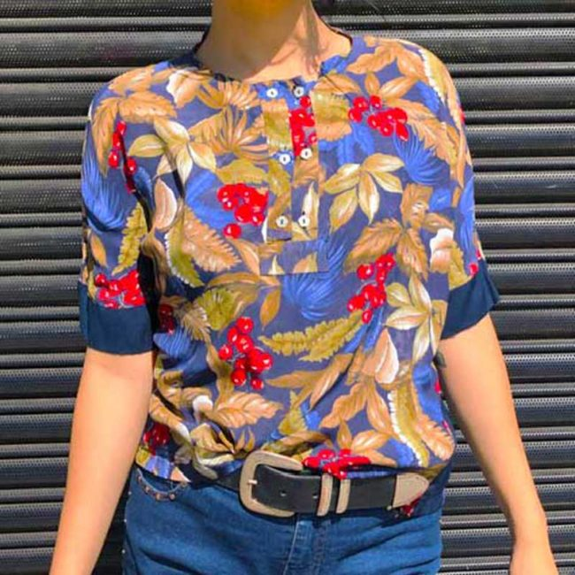 90s Womens Floral Pattern Shirt