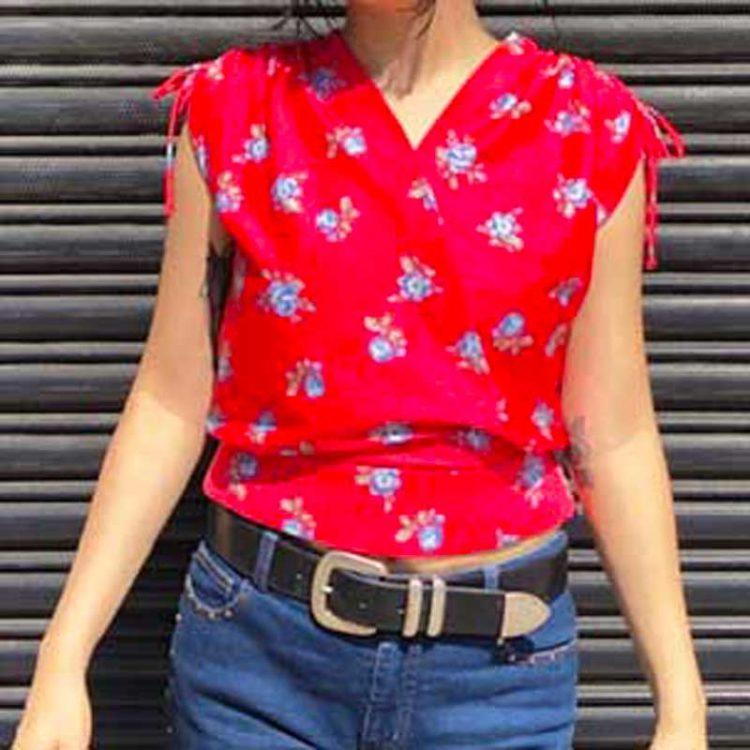 90s Womens Flower Pattern Shirt