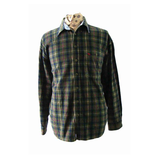 90s Green Checked Corduroy Shirt.
