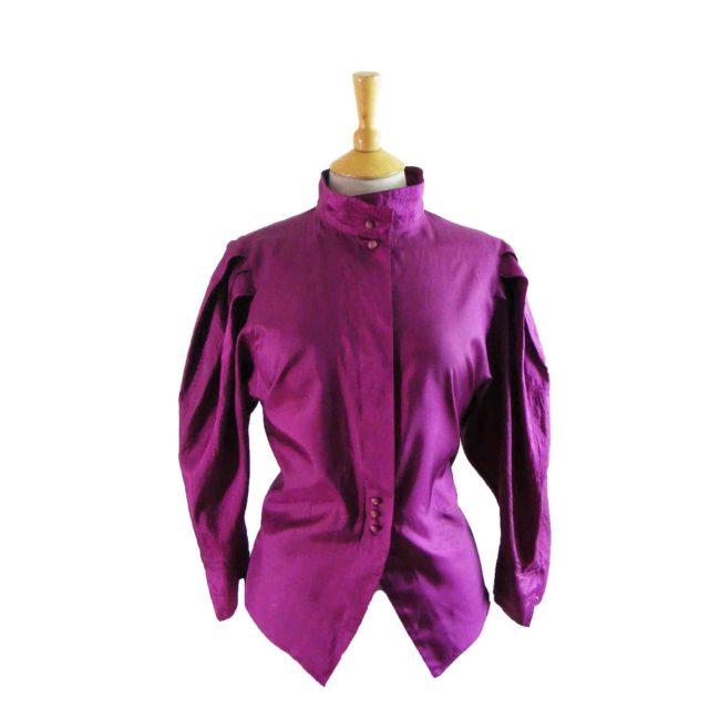 90s Purple Collared Blouse