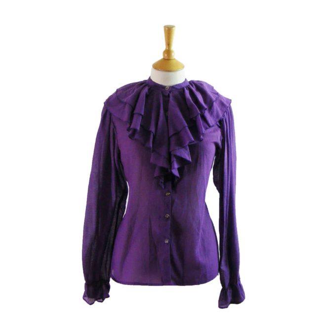 90s Purple Ruffled blouse