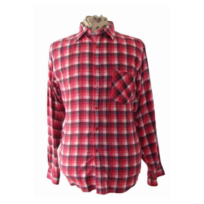 90s Red Black White Plaid Shirt