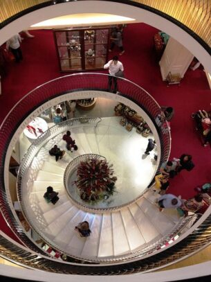 Angele Delanghe and Fortnum & Mason spiral staircase
