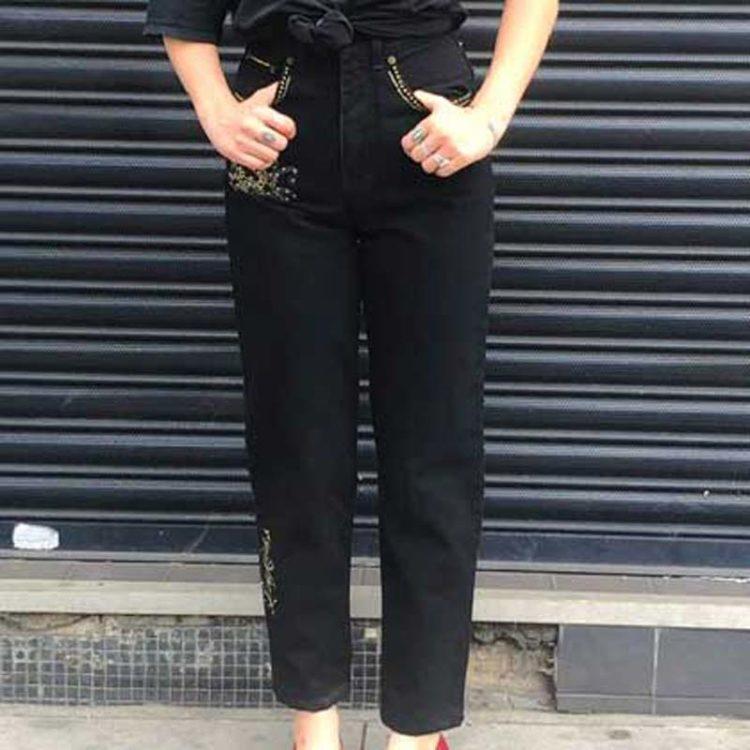 Black Diamante High Waist Trousers