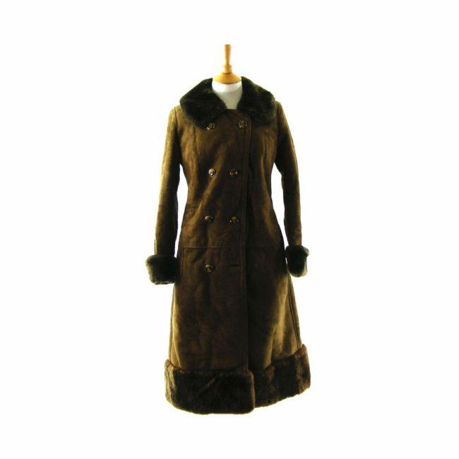 Brown Fur Trim Sheepskin coat